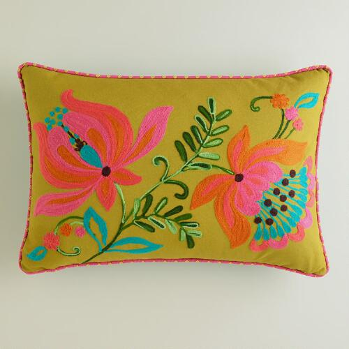 Flowers and Leaves Embroidered Lumbar Pillow