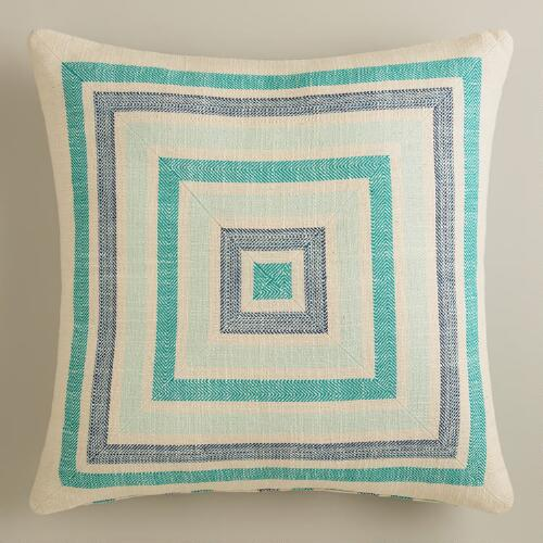 Aqua Striped Herringbone Throw Pillow