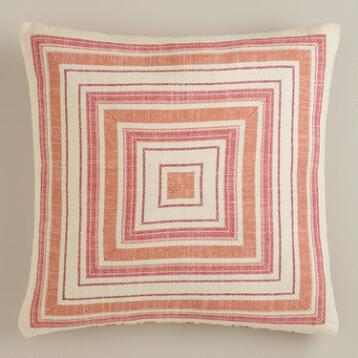Red and Orange Striped Herringbone Throw Pillow
