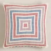 Red and White Striped Herringbone Throw Pillow