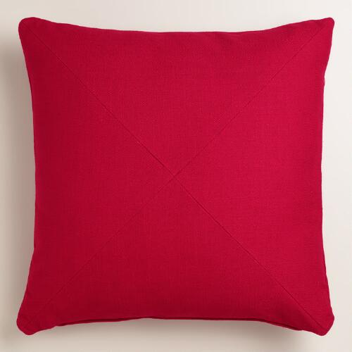 Chili Red Herringbone Throw Pillow