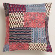 Red and Blue Patchwork Throw Pillow