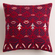 Red and Blue Cutwork Throw Pillow