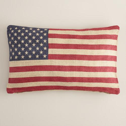 USA Flag Jute Lumbar Pillow