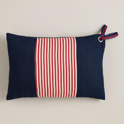 Red and Denim American Stripes Lumbar Pillow