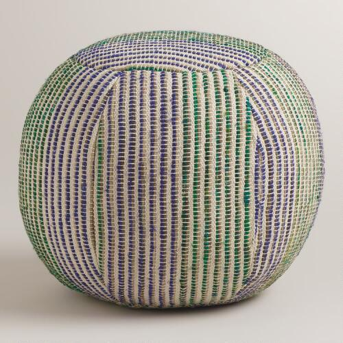 Blue, White and Green Striped Pouf