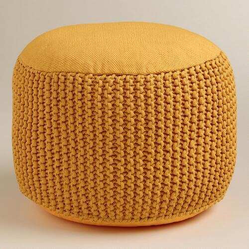 Yellow Indoor-Outdoor Pouf