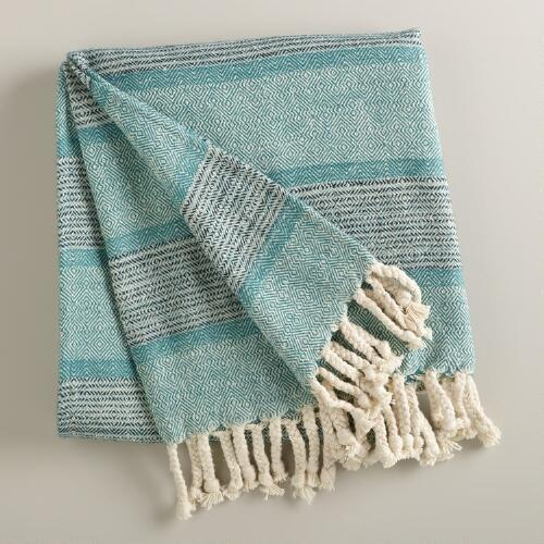 Aqua Monochrome Throw