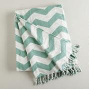 Blue Surf and White Chevron Throw