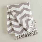 Gray and White Chevron Throw