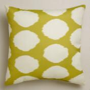 Green and White Dotted Ikat Outdoor Throw Pillow