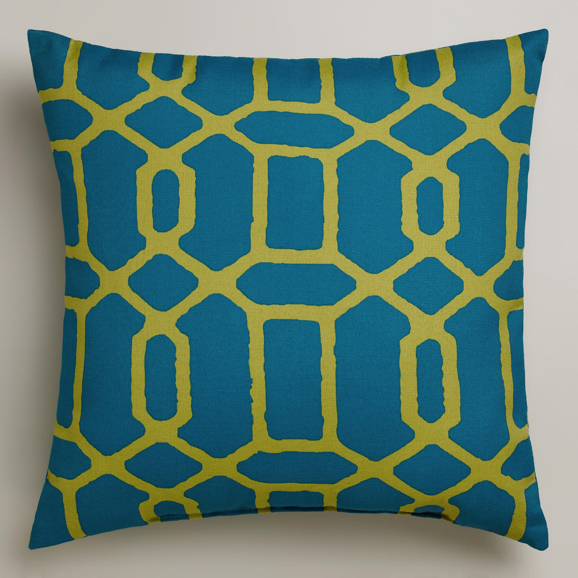 Blue and Green Gate Outdoor Throw Pillow World Market