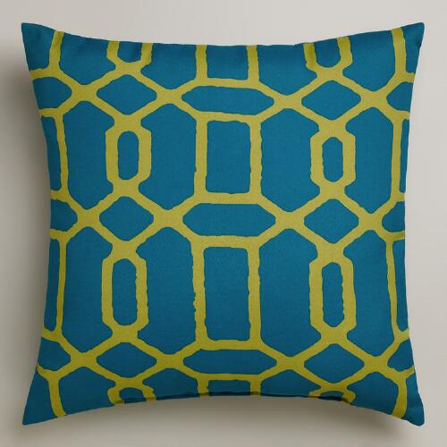 Blue and Green Gate Outdoor Throw Pillow