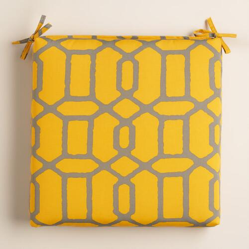 Yellow and Gray Gate Outdoor Chair Cushion