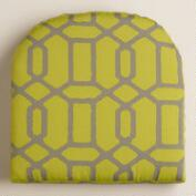 Green and Gray Gate Outdoor Gusset Chair Cushion
