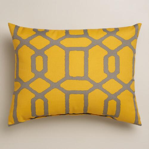 Yellow and Gray Gate Outdoor Lumbar Pillow