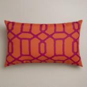 Orange and Fuchsia Gate Wide Outdoor Lumbar Pillow