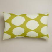 Green and White Dotted Ikat Wide Outdoor Lumbar Pillow