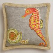 Seahorse with Jute Outdoor Throw Pillow