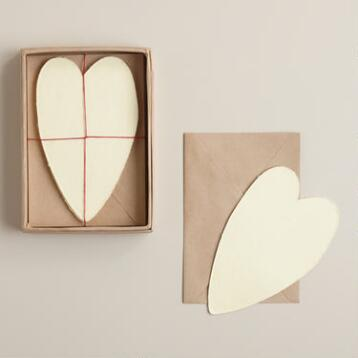 Heart-Shaped Handmade Notecards, Set of 8