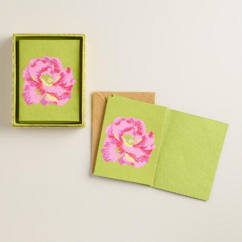 Omar Print Flower Handmade Boxed Notecards, Set of 8