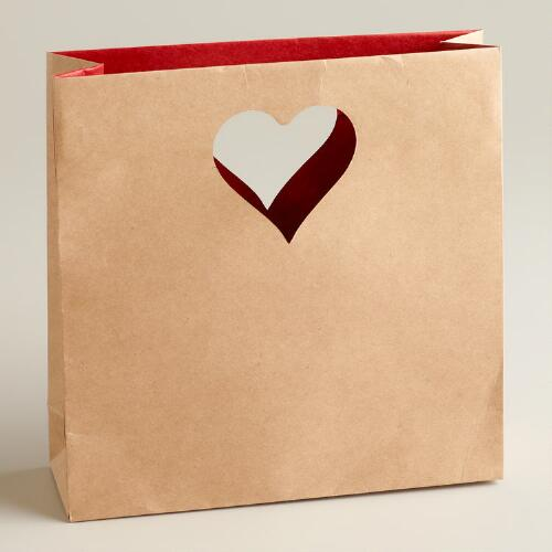 Small Die-Cut Heart Kraft Gift Bag