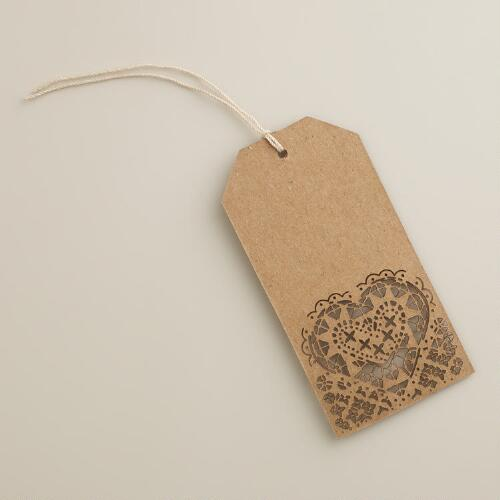Laser-Cut Heart Kraft Gift Tags, Set of 4