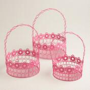 Pink Floral Wire Easter Baskets