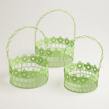 Green Floral Wire Easter Baskets