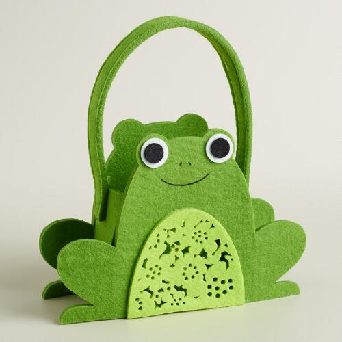 Large Frog Laser-Cut Felt Easter Basket