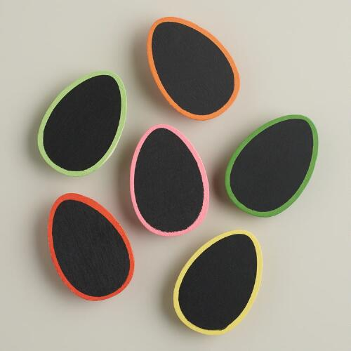 Chalkboard Easter Egg Clips, 6-Pack