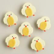 Easter Chicks Wood and Felt Clips, Set of 6