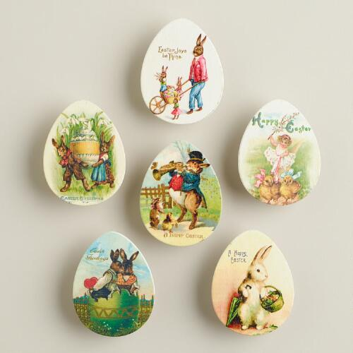 Vintage Postcard Easter Egg Wood Clips, 6-Count