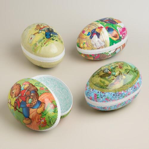 Extra-Large German Nesting Easter Egg Containers, Set of 4