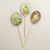 Vintage Postcard Easter Egg Gift Toppers, Set of 3
