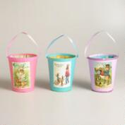 Vintage Postcard Paper Easter Containers, Set of 3