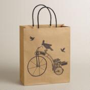 Large Bird on Bike Kraft Gift Bag