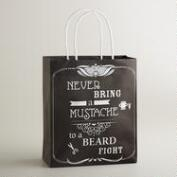 Medium Never Bring a Mustache Kraft Gift Bag