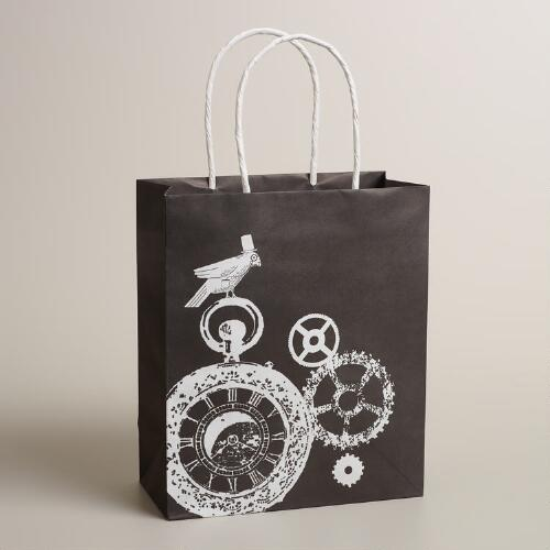 Medium Bird on Gears Kraft Gift Bag