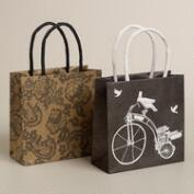 Mini Bike and Lace Kraft Gift Bags, Set of 2