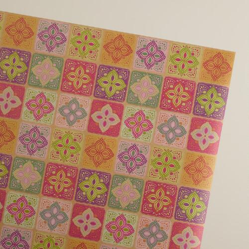 Multicolor Lace Kraft Gift Wrap