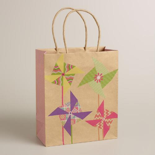 Medium Pinwheels Kraft Gift Bag