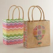 Mini Lace Balloon and Chevron Gift Bags, Set of 2