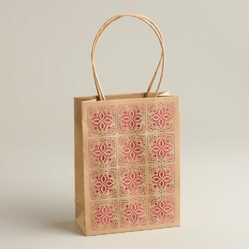 Small Laser-Cut Lace Kraft Gift Bag