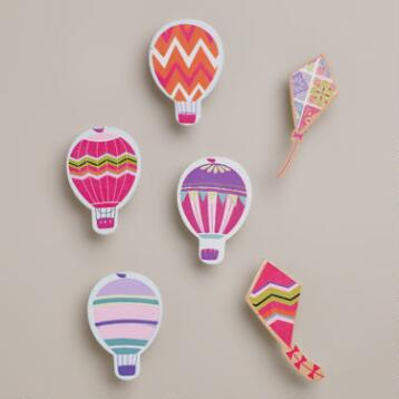 Hot Air Balloons and Kites Wood Clips, Set of 6