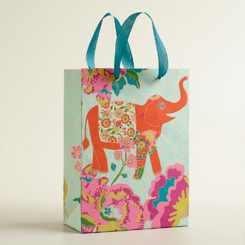 Large Orange Elephant Handmade Gift Bag