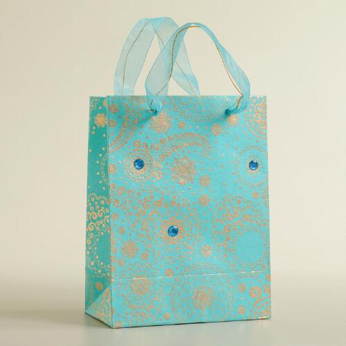 Small Gold Paisley Handmade Gift Bag