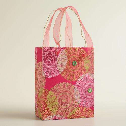 Small Pink Lace Flowers Handmade Gift Bag