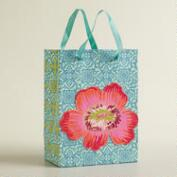 Small Turquoise Tile Print Die-Cut Flower Handmade Gift Bag