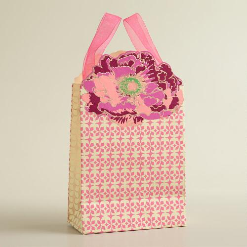 Small Pink Die-Cut Flower Handmade Gift Bag